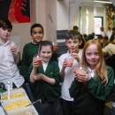 Pupils from Woodlands showing off their smoothie creations!